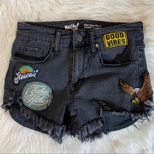 Vintage moss imo high rise black shorts w/ patches